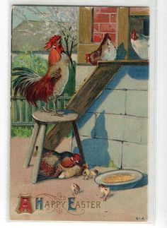 Easter Greetings Vintage Postcard  Chickens by sharonfostervintage, $2.00