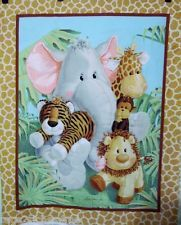 Elephant Giraffe~JUNGLE BABIES QUILT TOP FABRIC PANEL Tiger Monkey Hippo~QUALITY