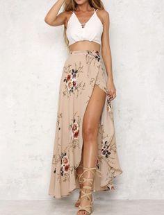 Maxi Skirt Outfits, Dress Skirt, Maxi Skirt Outfit Summer, Maxi Skirt With Slit, Beach Skirt, Summer Maxi Skirts, Maxi Skirt Boho, Lace Maxi, Boho Skirts