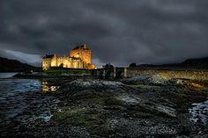 A stormy night at Eilean Donan castle, Scotland Stormy Night, Rainy Night, Night Time, Eilean Donan, Graphic Art Prints, Pixel Size, Scotland Castles, Signs, Monument Valley