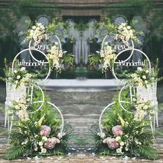 Wedding party donut metal iron road lead backdrop decorative silk flowers stand arrangement welcome area two sides props ornaments - Wedding decor - Wedding Pillars, Wedding Ceremony Flowers, Arch Wedding, Wedding Mandap, Wedding Blue, Wedding Frames, Wedding Receptions, Wedding Ideas, Arch Decoration