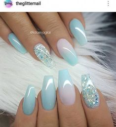 Baby blue nail art with glitter accent nail. Blue manicure, blue mani, coffin na. Baby blue nail a Wow Nails, Cute Nails, Pretty Nails, Latest Nail Designs, Blue Nail Designs, Blue Nails With Design, Acrylic Nail Designs For Summer, Almond Nails Designs Summer, Coffin Nails Designs Summer
