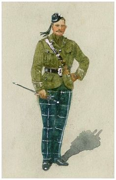 Scottish Military History Study The Cameronians ( Scottish Rifles) - Officer in Service Dress circa 1915