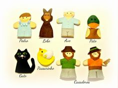 O Pedro e o Lobo - fantoches de dedo. Finger puppets - Peter and the Wolf Kid's toys, baby, telling stories