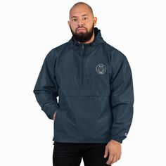 Add your embroidery designs to this practical half-zip pullover Champion Packable Jacket. It's made from wind and rain resistant polyester micro poplin, so it's perfect for outdoor sports and adventures. For convenient storage, the zipped hidde. Champion Jacket, Packable Jacket, Half Zip Pullover, Manga, Swagg, Adidas Jacket, Embroidery Designs, Rain Jacket, Men's Jacket