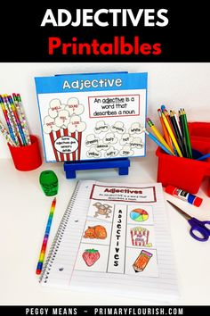 Looking for some easy-prep engaging activities for 1st, 2nd, or 3rd grade students!  Perfect for your English Language Arts lessons to teach, practice, review, and keep your students engaged with the movie night theme.  Smartboard friendly, research based, kid tested, teacher approved! {first, second, third graders, ELA}. Check it out! #TeachersPayTeachers #grammar #adjectives #partofspeech Grammar Activities, Kids Learning Activities, Learning Resources, Grammar Skills, Teaching Grammar, Adjectives Grammar, Learn Art, English Language Arts, Elementary Teacher