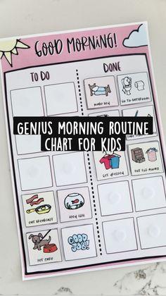 Morning Routine Chart, Chore Board, Reward Chart Kids, Kids Schedule, Organizing, Organization, Charts For Kids, Preschool Printables, Mom Advice