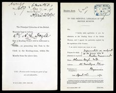 Sir Arthur Conan Doyle's application for a British Museum Library ticket.