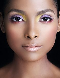 lazarus the makeup man - stunning  I love this idea-- using one shade swept over the eyelid and then using the complementing color on the inside to really brighten the eyes and make the primary color pop!