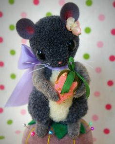 Sweet Strawberry Mouse Pin Cushion Handmade by MykoBocekStudios, $65.00