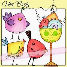 Here Birdy - might be cute to do spring embroidery project with different birds in horizontal long frame. Bird Doodle, Doodle Art, Different Birds, Bird Drawings, Cute Birds, Watercolor Cards, Art Journal Pages, Whimsical Art, Art Plastique