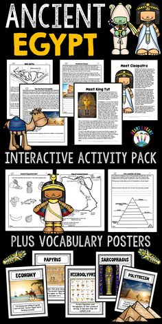 Learning about Ancient Egypt has never been so much fun! This creative and interactive unit is packed full of informational articles, student activities that work great in interactive notebooks, vocabulary posters, maps, timelines, organizers, and much more! Over 90 pages in all!  There are 18 informational articles on the following topics: Geography, Daily Life in Egypt, Food, Clothing, Shelter, Pyramids, Pharaohs, Religion, Social Classes, Symbols, and more!
