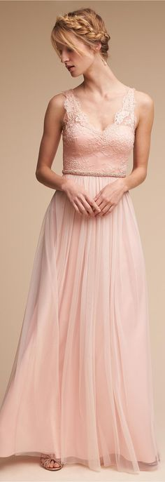 Blush lace Bridesmaid Dress | BHLDN