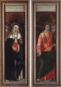 Saint Catherine of Siena and Saint Lawrence (1498),  Alte Pinakothek, Munich, Germany   -//  The picture shows two wings of the Pala Tornabuoni executed by Ghirlandaio's workshop and probably finished after the death of Ghirlandaio. FLORENCE 1498