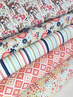 Woodland Animals Fabric, Deer Fabric, Woodland Springs Fabric Riley Blake, Fox Fabric, Quilting Fabric-Fabric Bundle of 5-choose your cut