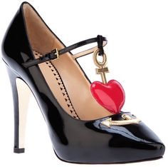 0919e4f851213b Heart Detail Pump - Lyst Black Patent Leather Shoes
