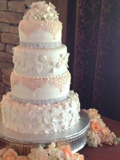 """""""Taylor"""" - Fondant Cake with sugar hydrangea topper and 3d sugar flowers, bling ribbon and cornelli lace piping."""