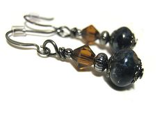 Rustic Blue and Orange Earrings Gunmetal Grey by SharkysWaters