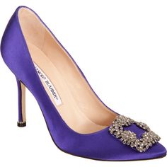 Manolo Blahnik Women's Hangisi Pumps ($569) ❤ liked on Polyvore featuring shoes, pumps, purple, high heel pumps, high heel shoes, manolo blahnik shoes, purple shoes and purple pointy toe pumps