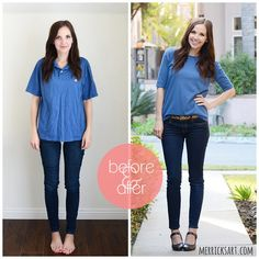 save your beau's polo by altering it into a flattering and feminine boatneck shirt Get the tutorial at Merricks Art »  - GoodHousekeeping.com