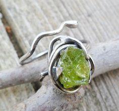 Rough Peridot Ring. Peridot And Sterling Silver Ring. by Unics