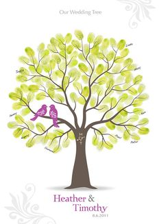 La huella digital boda árbol huésped libro póster  por TJLovePrints