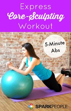 Get on the ball to work your abs in just 5 minutes! | via @SparkPeople #fitness #exercise #workout #video #core