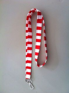 Red and White striped lanyard on Etsy, $8.00
