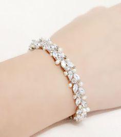 Thin Wedding Jewelry Rhinestone Freshwater Pearl and