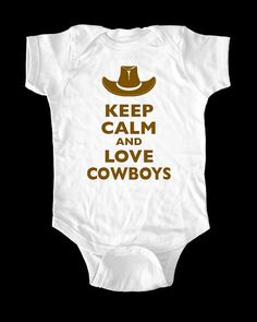 Keep Calm And Love Cowboys one-piece or Shirt - Printed on Baby one-piece, Toddler shirt, Youth Shirt