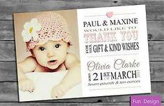 Personalised Baby Girl Thank You Card (Packs of ten)   eBay