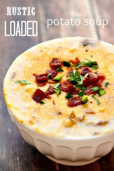 This rustic Loaded Potato Soup is so easy to make and has a ton of flavor! Loaded Potato Soup is comforting, warm and you can tailor it to your tastes. This potato soup recipe is easy and delicious! Eat This, Gula, Soup And Sandwich, I Love Food, Soups And Stews, Crockpot, The Best, Cooking Recipes, Yummy Food