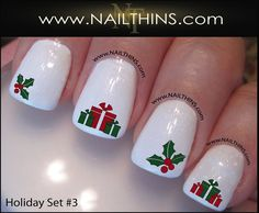 Set No 3 Holiday Nail Decals Christmas Nail Design by NAILTHINS, $3.75