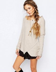 Free People Love and Harmony Wrap Knit Jumper in Oatmeal