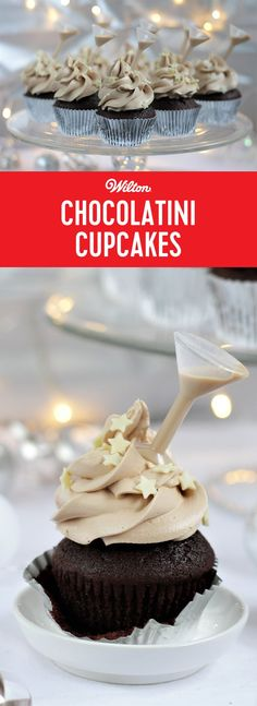Baileys Chocolatini Cupcakes Recipe - This is the perfect sweet treat for a festive party! The Martini Shot Toppers add all the glamour to these cakes not to mention an additional 'shot of fun'. These cupcakes use a delicious cocktail for all the flavour, but an indulgent non-alcoholic version can be made, just omit the Baileys Chocolatini Mix. Serve them at your Christmas or New Year's Eve celebration! #newyearseve #boozybaking #christmas #christmasparty #cupcakes #wiltoncakes