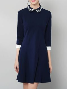 Navy Blue 3/4 Sleeve Embroidered A-line Mini Dress