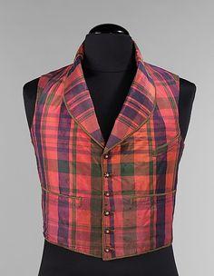 Vest, Morning. Red, green, blue plaid.  Date: 1850–59 Culture: American Medium…