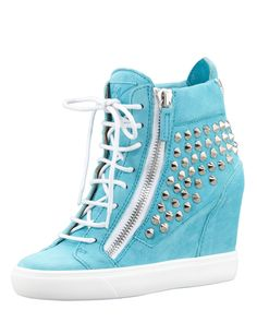 Luv Luv Luv the color blue! Studded Suede Wedge Sneaker by Giuseppe Zanotti at Bergdorf Goodman. these are my new favourite types of shoes! Wedge Heel Sneakers, Sneaker Heels, Wedge Shoes, Studded Sneakers, Shoes Sneakers, Cute Shoes, Me Too Shoes, Pretty Shoes, Sneakers Fashion
