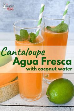 Cantaloupe Agua Fresca (with coconut water) Mix up this refreshing and delicious drink, perfect for a warm summer day! - The Produce Moms Healthy Fruits, Healthy Smoothies, Healthy Drinks, Healthy Snacks, Healthy Recipes, Eat Healthy, Vegetable Smoothies, Blender Recipes, Oatmeal Smoothies