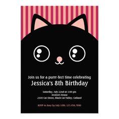 Custom Birthday Purrrr-ty Invitation for Kids featuring Cute Black Cat Kitty…