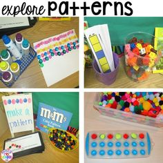 Tons of ideas for your math center in your preschool, pre-k, and kindergarten classroom. FREE path game!