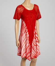 Take a look at the Red Tie-Dye Shift Dress on #zulily today!