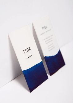 Tide Retreat business cards by Bland Designs / graphic branding, simple identity, blue dip dye Corporate Design, Business Card Design, Creative Business, Awesome Business Cards, Business Card Fonts, Vertical Business Cards, Business Invitation, Minimalist Business Cards, Elegant Business Cards