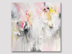Original large abstract painting, pastels, bright work of art, acrylic painting, delicate colors, white pink grey, modern canvas painting