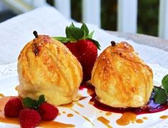 """Just mentioning the words """"cream cheese"""" gets me excited. Now, THIS is a stuffed pear that I would truly enjoy. Although these look very impressive, Julie's recipe has simple ingredients, and her step-by-step instructions make it easy peasy. Oh, did I forget to mention that she's included her homemade praline sauce? Yum! Go check out …"""