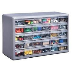 Plastic Blue 39 Multi Drawer Organizer Parts See Through Cabinet