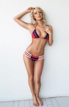 beach babe {love the high waisted bikini} #beach #swimwear #swimsuit # ...