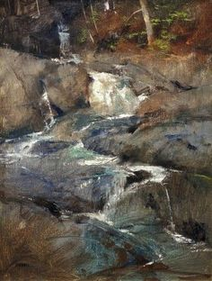 First Runoff – Oil Albert Handell Pastel Landscape, Contemporary Landscape, Watercolor Landscape, Abstract Landscape, Landscape Paintings, Waterfall Paintings, Seen, Pastel Art, Painting Techniques