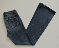 Paige Premium Denim Jeans 30 Skyline Boot Cut Augusta Medium indigo distress  #PaigeDenim #Skyline BootCut #Augusta #SaveonYourStyle