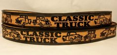 "Leather Belts Embossed Classic Trucks Design 1 1/2"" Wide"